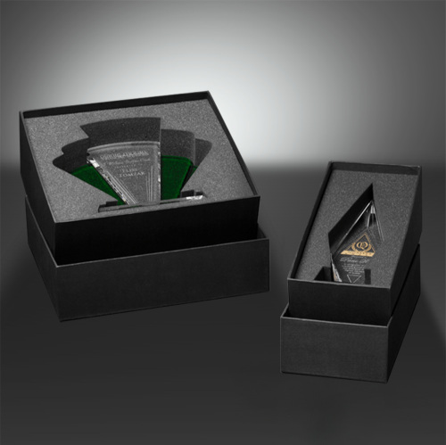 "Pencil Award on Black Glass Base 8"" W"