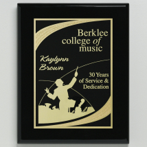 "Aberdeen Black Plaque 9"" x 12"" with Lasered Plate"