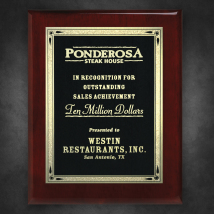 "Aberdeen Rosewood Plaque 9"" x 12"" with Lasered Plate"