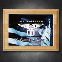 "Alder Wood Plaque 9"" x 12"" with Sublimated Plate"