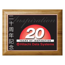 "Bamboo Plaque 9"" x 12"" with Sublimated Plate"