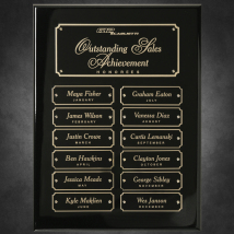 "Black Piano Finish Perpetual Plaque 9"" x 12"""