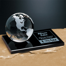 Continental Globe on Glass Base