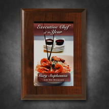 "Econo Cherry Plaque 5"" x 7"" with Sublimated Plate"