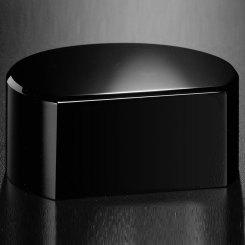 "Black Glass Base - Cut Circle 1-1/2"" H Image"