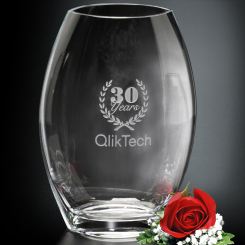 "Clear Oval Vase 12"" Image"