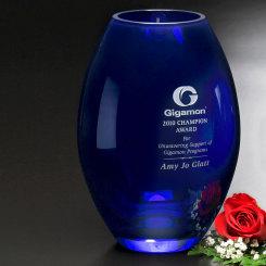 """Cobalt Barrel Vase 10-1/2"""" Image"""