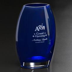 """Cobalt Oval Vase 8-1/2"""" Image"""