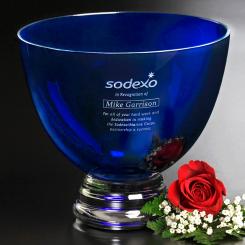 "Cobalt Pedestal Bowl 8-1/2"" Dia. Image"