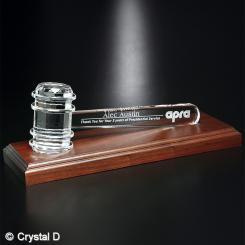 """Crystal Gavel on Royal Finish Base 11-1/2"""" W Image"""
