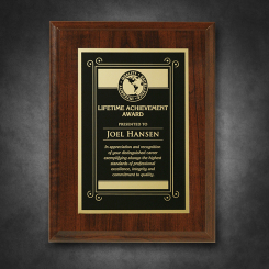 """Econo Cherry Plaque 6"""" x 8"""" with Lasered Plate"""