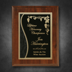 "Econo Cherry Plaque 9"" x 12"" with Lasered Plate Image"