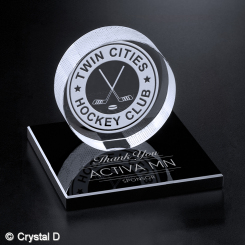 "Hockey Puck on Black Glass Base 3-3/8"" Image"