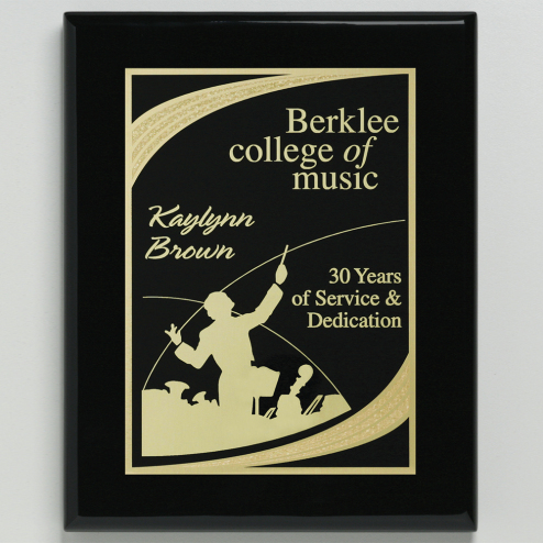 """Aberdeen Black Plaque 8"""" x 10"""" with Lasered Plate"""