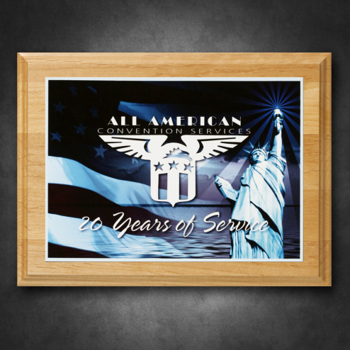 alder wood plaque 9 x 12 with sublimated plate crystal d