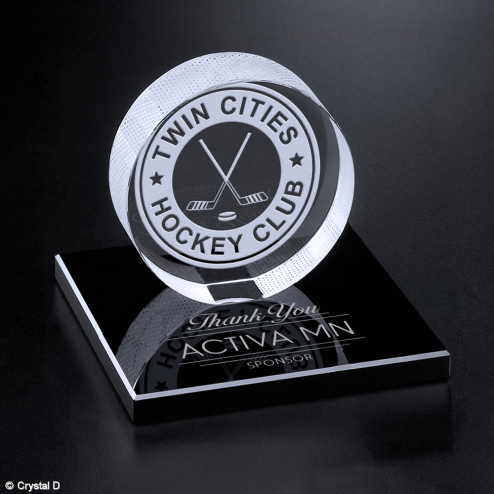 Hockey Puck on Black Glass Base 3-3/8""